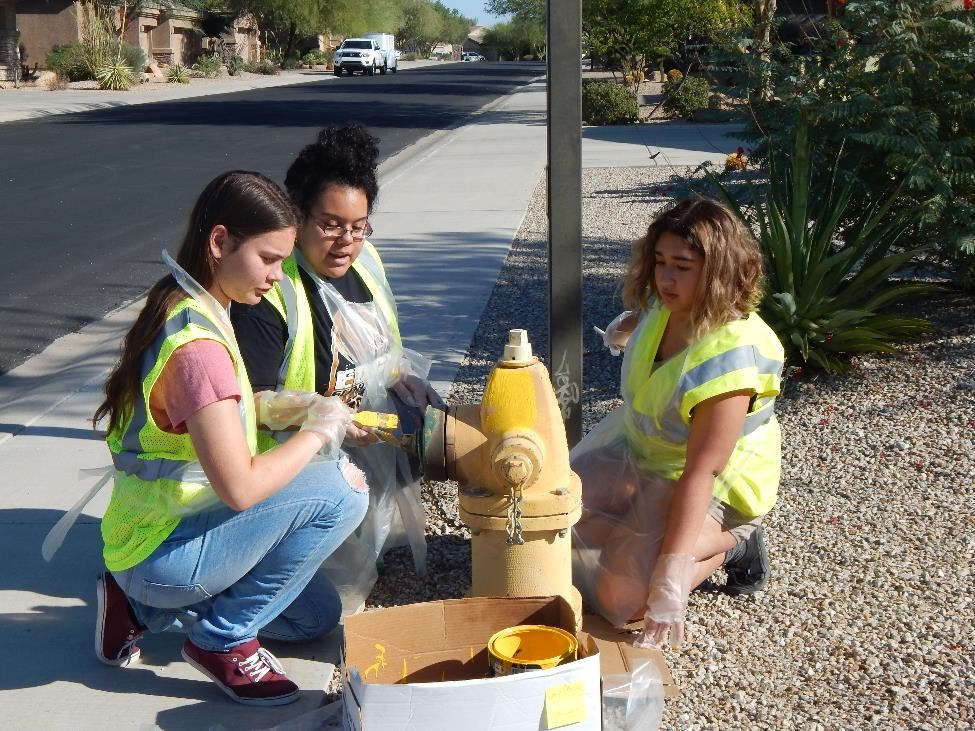 Over 120 fire hydrants in Estrella were painted by Key Clubs of Agua Fria, Millennium and Verrado HS, Aktion Club, Verrado HS NHS and StuGo, and Eagle Scout candidate, S. Davis.