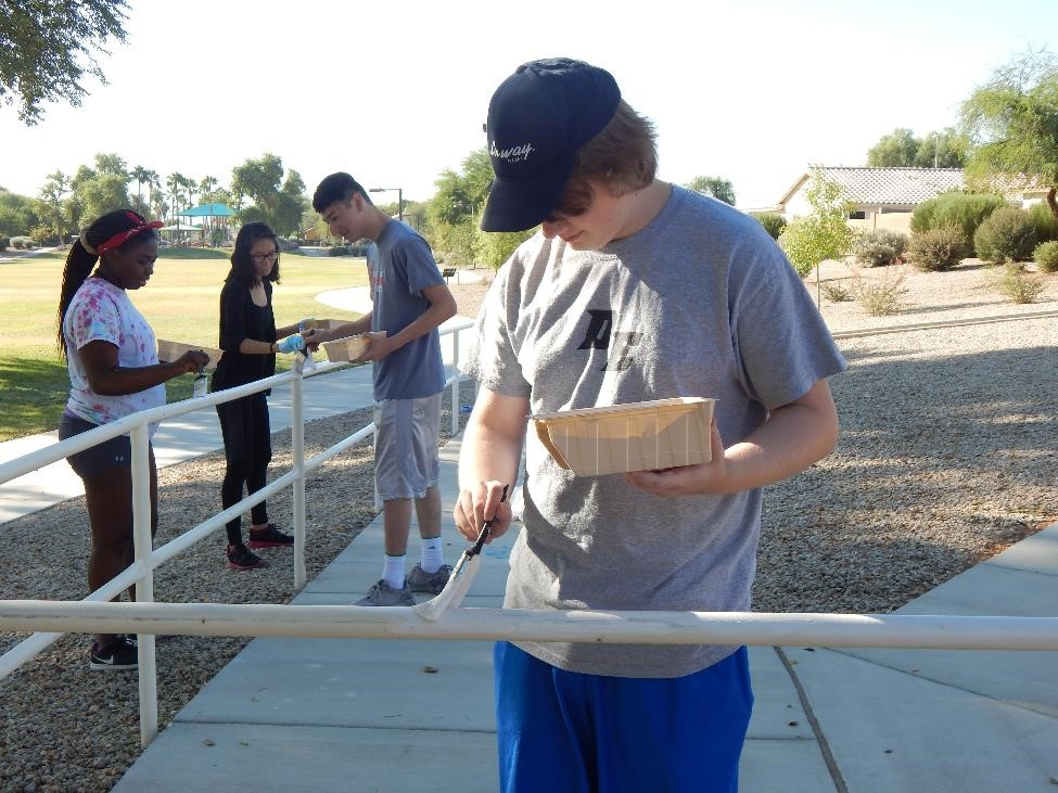 Desert Edge HS students painted the Wildflower Park South railings.