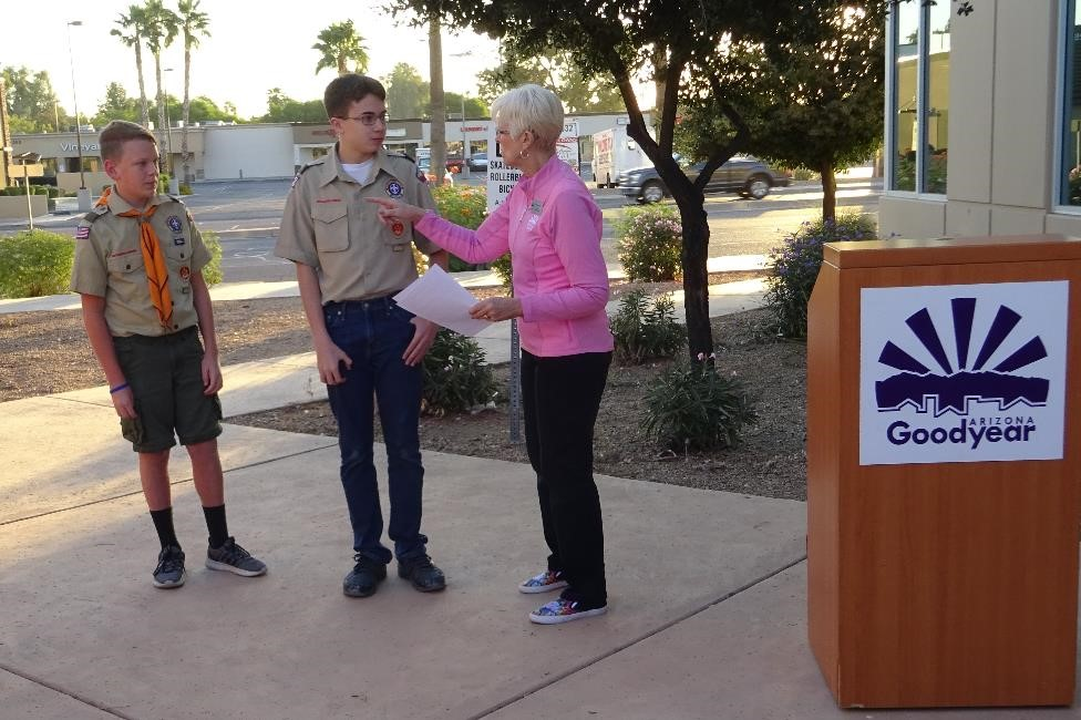 Mayor Lord recognized Eagle Scout candidates, L. Christensen and S. Davis.