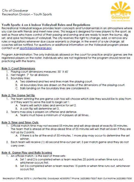 Volleyball Rules & Regulations